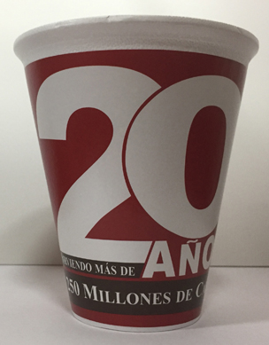 VASO GRAPHICUP 20 AÑOS 12OZ MGA 25PZ